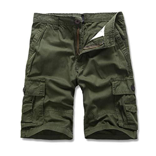 urz Shorts GreatestPAK Herren Einfarbig Cargo-Shorts Knopf Pocket Arbeitshorts Mode,Hellgrün,EU:M(Tag:30) ()