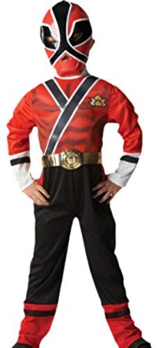 erdbeerloft - Jungen Power Rangers Red Samurai Kostüm, Karneval, 110, (Rangers Kleinkind Power Kostüme)