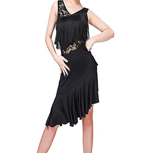 Lyrische Den Wettbewerb Für Kostüm Tanz - KINLOU Damen Dance Kleider - Ärmellose Spitze Fringe Dancewear Samba Tango Latin Dance Dress Wettbewerb Kostüme, Schwarz/L