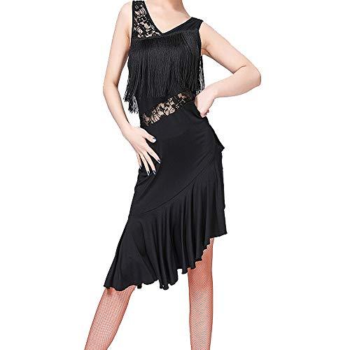 KINLOU Damen Dance Kleider - Ärmellose Spitze Fringe Dancewear Samba Tango Latin Dance Dress Wettbewerb Kostüme, - Fringe Kleid Dance Kostüm
