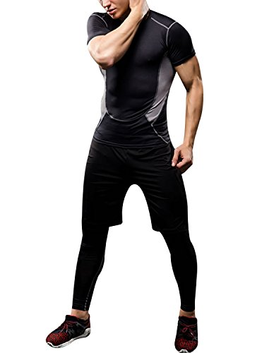 burvogue Herren Baselayer Compression Top Short Sleeve Shirt Shorts Hose Leggings Cool Dry Skin Fit 3 Stück Set, schwarz grau (Shirt Sleeve Short Iii)