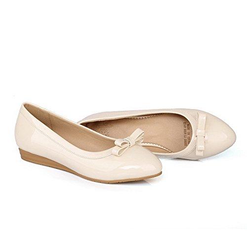 VogueZone009 Femme à Talon Bas Couleur Unie Tire Rond Chaussures Légeres Beige