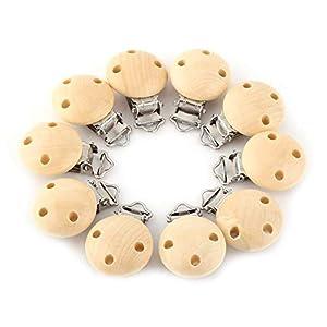 10 Stücke Holz Schnuller Clip, natürliche Farbe Holz Baby Schnuller Clips Dummy Nippel Halter