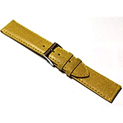 18mm Distressed 'Vintage Style' Mustard Yellow Leather Watch Strap.