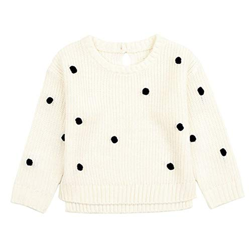 QIQI Children es Knit Sweater, Girls Long Sleeve Knit Polka Dot Sweater Solid Color Warm Jacket Autumn Winter Girl Kostüm,White,80cm (White Girl Kostüm)