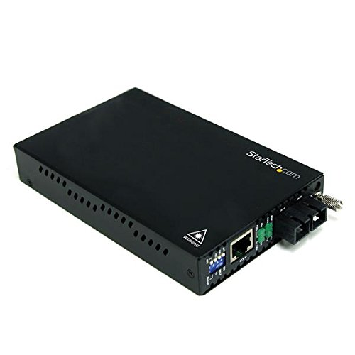StarTech. com Ethernet Medien Konverter 10/100Mbps Single Mode LWL/Glasfaser SC Medienkonverter 30km–Netzwerkkabel Konverter (200Mbit/s, 10Base-T, SC, verkabelt, 1310nm, 30000M) schwarz (Media Konverter Single-mode Sc)