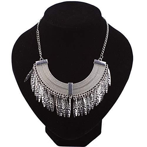 Damen Choker Halskette, Damen böhmischen ethnischen Stammes-Vintage-Legierung Blatt Quaste Anweisung kurze Halskette Choker Kragen Lätzchen Mode Modeschmuck Geschenk Schmuck Frauen Mädchen (Stammes Ethnischen Kostüm)