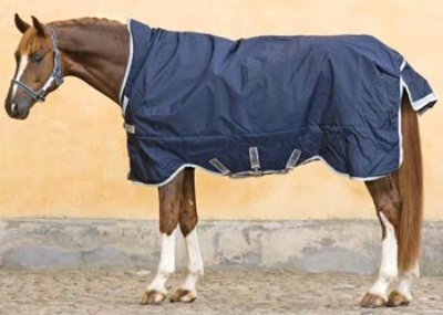 Horseware Rambo Wug Weidedecke (Regendecke) 145cm 200g Füllung Navy/Silver