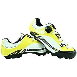 LUCK Zapatillas de Ciclismo Pro 0.17 MTB, con Suela de Carbono de 4mm y Cierre rotativo de Alta precisión para una sujeción (43 EU, Amarillo)
