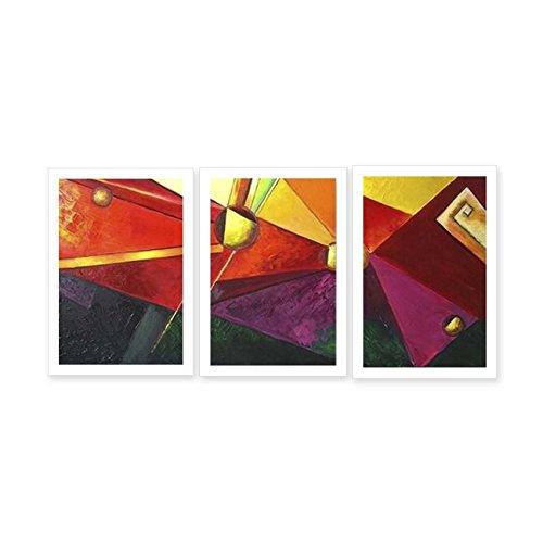 JH Lacrocon Pinturas Abstractas a Mano 3 Piezas - Total 120X60 cm Sobre Lienzo Enrollado Decoración Pared para Salón - Cubismo Geométrico