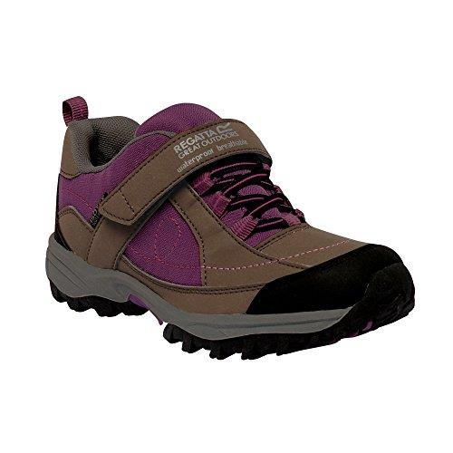 Regatta Girls Trailspace Low Waterproof Breathable Walking Shoes Grey Stahl/Rum