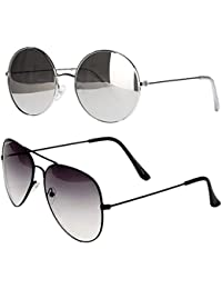 Younky Unisex Combo Offer Pack Of UV Protected Round Stylish Mercury Sunglasses For Men Women Boys & Girls ( RoundSilver-HalfBlack...