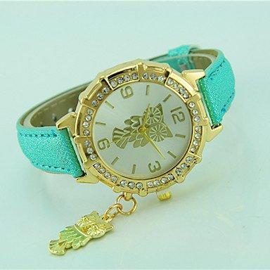 XKC-watches Herrenuhren, Damen Modeuhr Armbanduhr Quartz Strass Leder Band Bequem Eule Schwarz Weiß Blau Orange Grün Gold Rosa (Farbe : Leicht Grün)