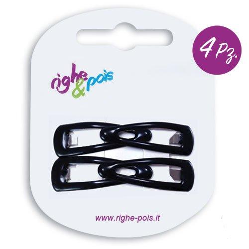 103 – 001 – Set 4 barrettes clic clac gommées cm 3 couleur noir – Pinces pour Cheveux