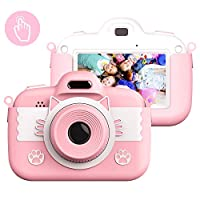 Kids Digital Camera Childrens Camera, Vannico Touch Screen Video Photo Camera for Kids Rechargeable Toddler Camera with Lanyard, 16G SD Card, Birthday Gift for Girls Boys (Pink)