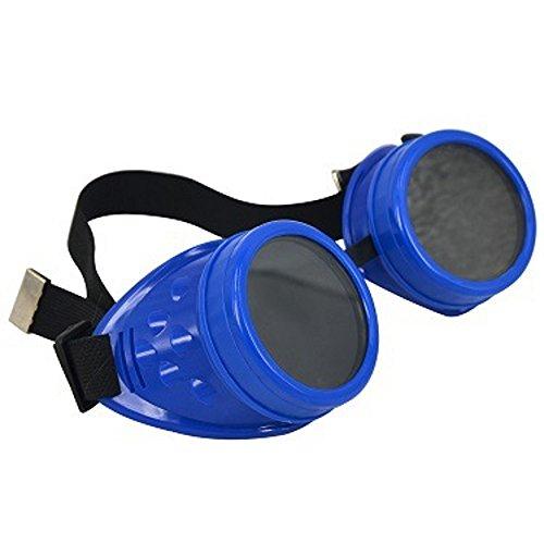 Unisex Retro Sonnenbrille Cyber Goggles Steampunk Brille Brille Schweißen Punk Gothic Brille Halloween Cosplay Vintage viktorianischen (blau)