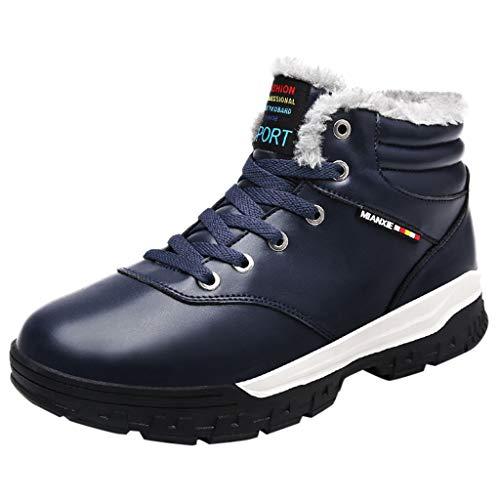 Manadlian Winterschuhe Herren Sneaker Outdoorschuhe Mode Freizeit Männer Schuhe Runde Kopf Behalten Warm Rutschfest Schnürer Werkzeugschuhe