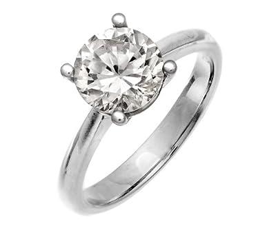 Naava Round Brilliant Diamond Platinum Engagement Ring, IJ/I Certified