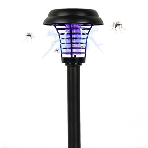 Demarkt Moskito-Mörder Lampe mit Sonnenenergie oder Batterieladung Rasen-Lampe Mückenfallen mit hohem Wirkungsgrad für Outdoor Garten