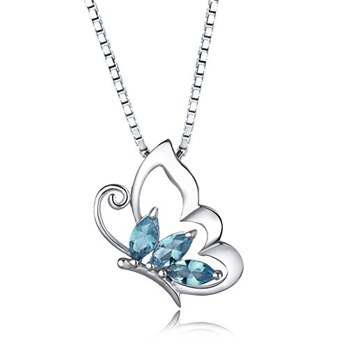 Aurora Tears Women Elegant Half butterfly London Blue Topaz Pendant Necklace DP0014L