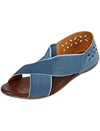 Catwalk Blue Leather Sandals for Women's