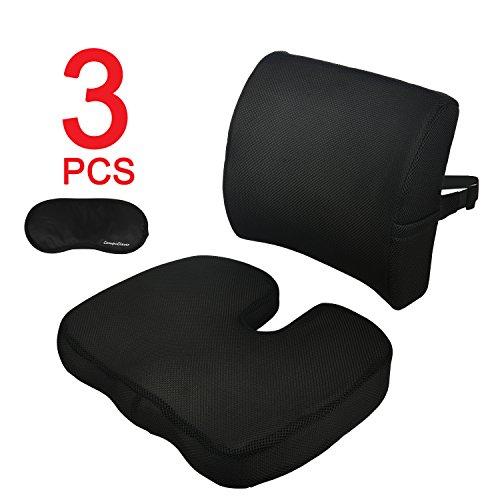 Compuclever memory foam cuscini sedili e supporto lombare fornisce rilievo per dolore alla schiena inferiore sciatica tailbone coccyx cuscino ortopedico per sedile ufficio sedile per auto sedia a rotelle con copertura lavabile nero