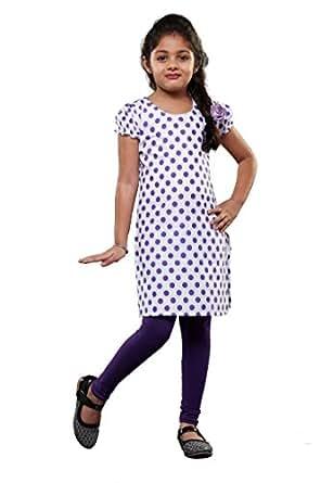 JBN Creation Girls Cotton Kurti and Legging Set (Purple and White_VASGSS075PU_5-6 Years)