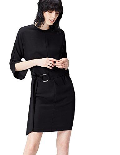 FIND Damen Kleid Belted Shift Schwarz (Black), 44 (Herstellergröße: XX-Large) (Schwarze Shift-kleider Für Frauen)