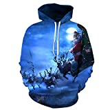 WFTD Unisex Hoodie 3D HD Colorful Couple Pullover Ugly Christmas Sweatshirt Loose Kangaroo Pocket Santa and Reindeer,XXXL