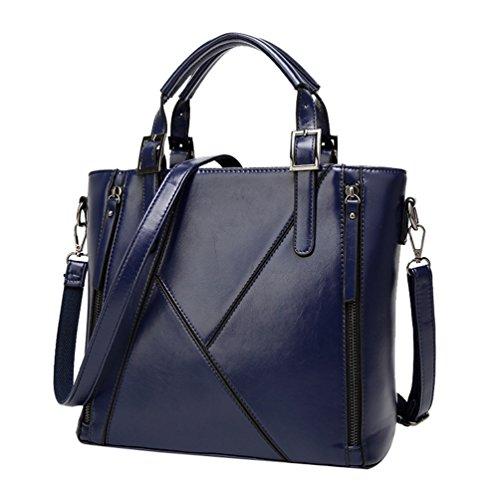 YiLianDa Frauen PU Leder Handtaschen Vintage Tote Satchel Schultertasche Blau