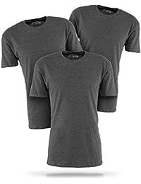 Basic T-Shirt Herren weiß mit Rundhals - 3er Pack Shirts aus Baumwolle einfarbig