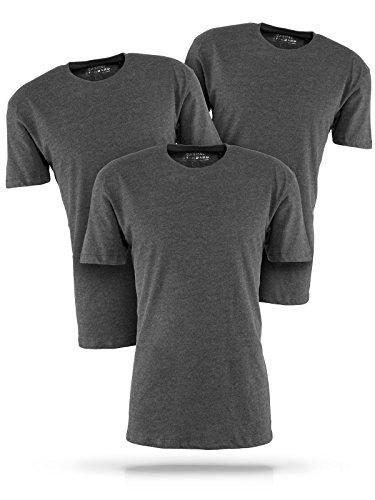 Basic T-Shirt Herren grau mit Rundhals - 3er Pack Shirts aus Baumwolle einfarbig (L, grau) -