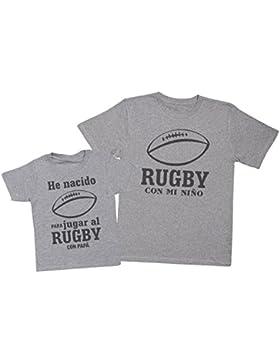 Zarlivia Clothing Rugby con Papá - Regalo Para Padres e Hijos - Camiseta de Niño y Camiseta de Hombre