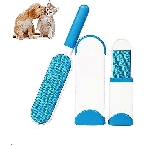 regalos kawaii gato Cepillo Limpiador Quita Pelos de Perro Gato Mascotas Pelusas para Ropa con el Asistente de Tamaño de Viaje, Reutilizable Mascota Fur Remover con Auto-Limpieza Base