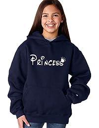 80cff478a ADYK Cotton Navy Blue Princess Printed Hooded Sweatshirt for Girls