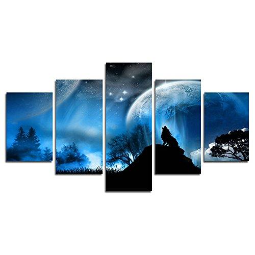 5 Stück Fresko Kunst Malerei Wolf in den Mond unter dem Bild drucken Leinwand Landschaft Bild Haus Dekoration(50