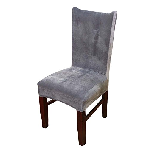 LINGJUN Chair Slipcovers Grey Fox Fabric Stretch Elastic Removable Washable For Hotel Dining Room Ceremony Wedding Party Banquet Decor