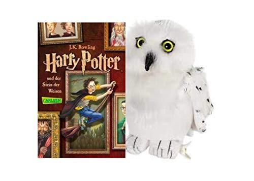 Harry Potter und der Stein der Weisen (Band 1, Taschenbuch) + Hedwig Plüscheule (Harry Potter Eule Hedwig)