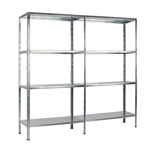 Regal Steckregal Metall 2er Set verzinkt 180x160x40cm Traglast 520kg 8 Böden Schulte
