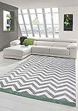 Teppich modern Skandinavisches Design in Grün Creme Grau Größe 160x230 cm