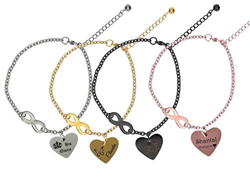 aplusashop Edelstahl Fußkette mit Herzanhänger & Unendlichkeitszeichen + Gravur nach Wunsch in 4 Farben mit Geschenkbeutel (Rose-Gold)