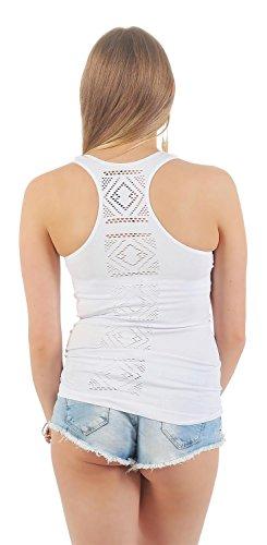 Träger Sommer Shirt Top T-Shirt 6 Farben Farben Gr. S M L XL Weiß
