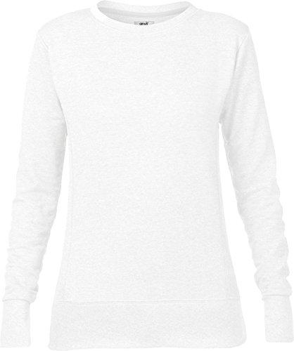 Amboss Damen Winter Pullover Prinzessin Naht mid-scoop French Terry Sweatshirt Gr. L, Weiß - Weiß (Jumper Naht Prinzessin)