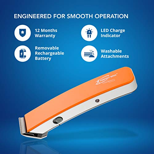 Perfect Nova NS-216 Rechargeable Cordless Beard Trimmer for Men (Orange)