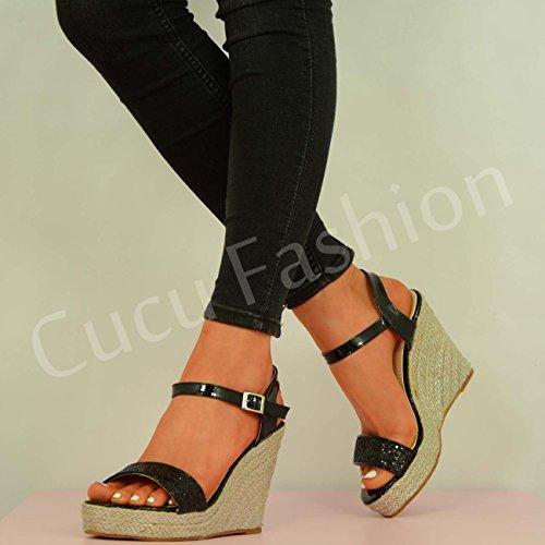 Fashion Glitter Cucu da piattaforme 2016, da donna, alla caviglia, zeppa Black