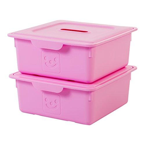 IRIS, 2er-Set Schublade-Box 'Smiley Kids Boxes', KDL-330, Kunststoff, mit Deckel, magnolia, 33 x 31,5 x 13,5 cm -