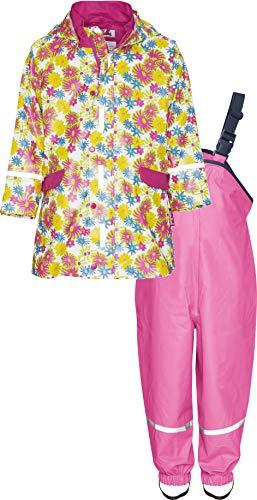 Playshoes Mädchen Matschanzug, Regenanzug, Regen-Set Blumendruck Regenjacke, (Weiß 1), (Herstellergröße: 98) -