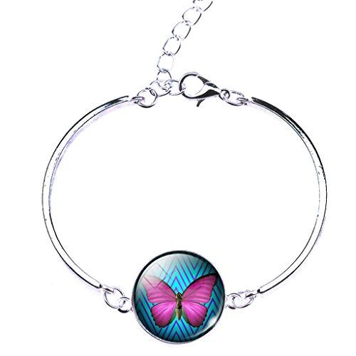 Jiayiqi Joli Papillon Insecte Verre Temps Gemme Bracelet Manchette En Pour Femmes Filles No 1