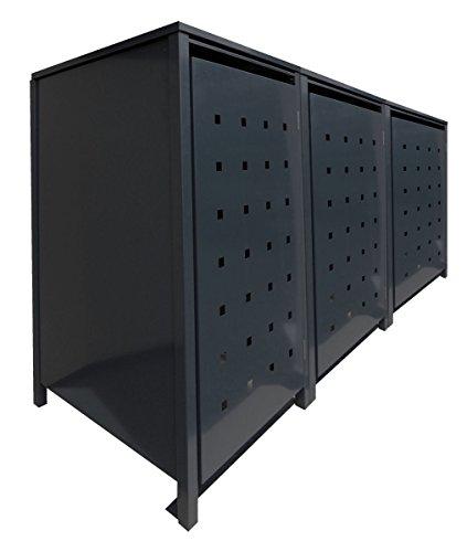 #BBT@ | Solide Mülltonnenbox für 3 Tonnen je 120 Liter mit Klappdeckel in Schwarz Aus robustem pulver-beschichtetem Metallblech#