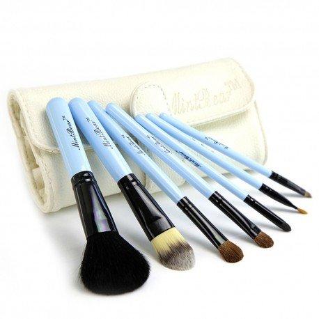 Kit de 7 pinceaux maquillage basiques Travel kit - Bleu